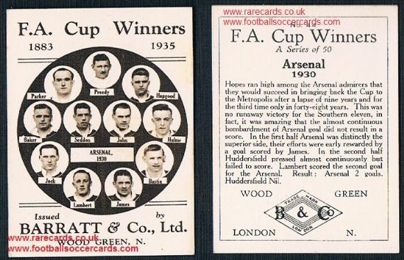 1935 Barratt F A Cup Winners 44 Arsenal football card